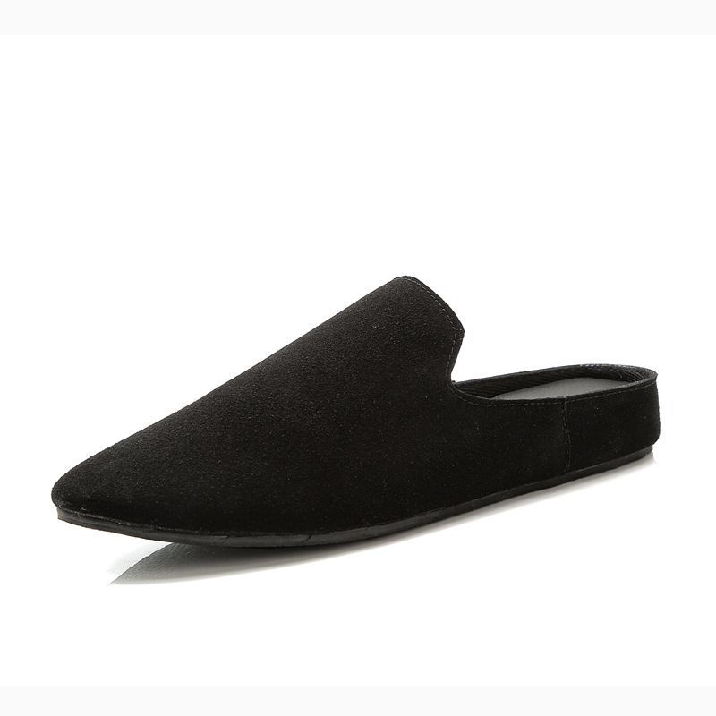 Fashion men's leather flat lazy slippers