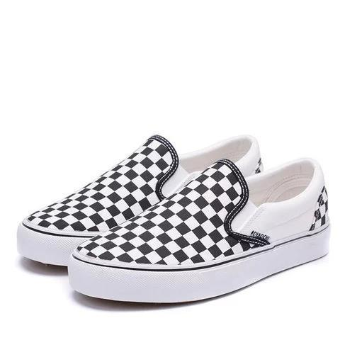 Women Large Size Canvas Checkerboard Loafers Block Slip On Shoes
