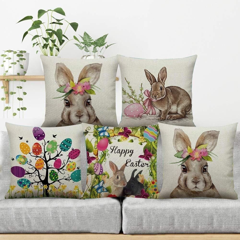 4 Pieces Easter Pillow Case with Bunnies and Eggs (18