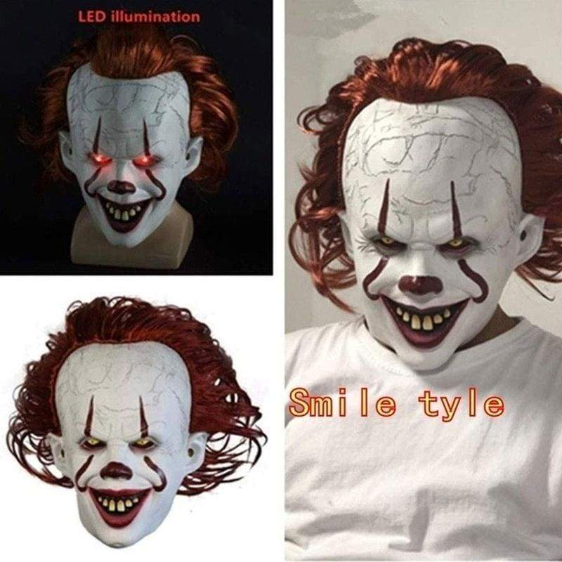 4Styles Clown Return 2 Pennywise Mask LED Light-Emitting Wig Headset Horror Halloween Peripheral Cosplay