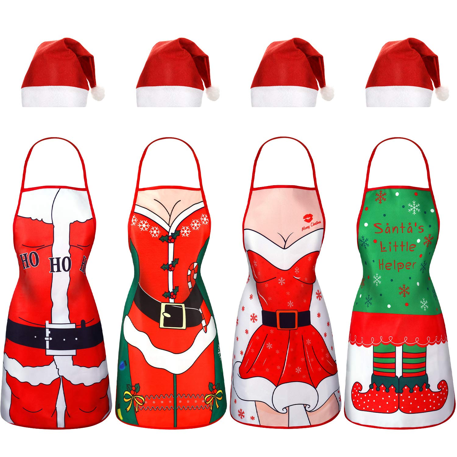 Christmas Kitchen Aprons Santa Hat