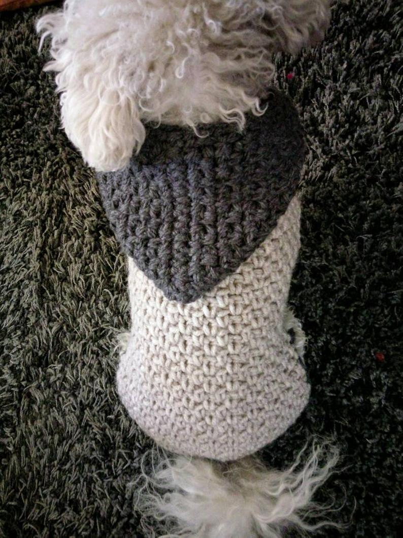 Small dog Sweater / Crochet Dog Clothes / Pet clothing / Winter Dog Hoodie / Warm Dog Clothes - Dog Outfits / Puppy sweater / BubaDog