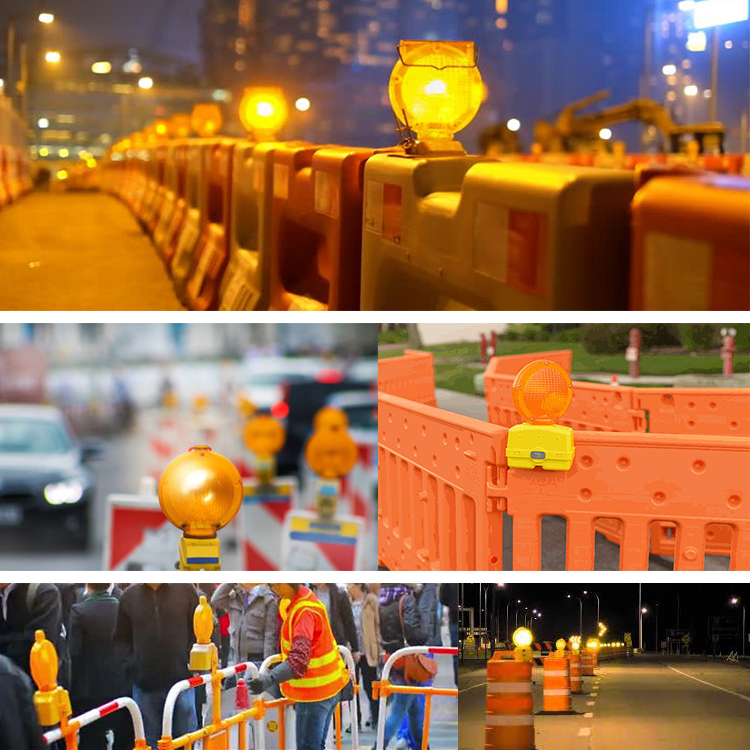 Solar energy warning led barrier light guardrail warn lamp road construction strobe lighting