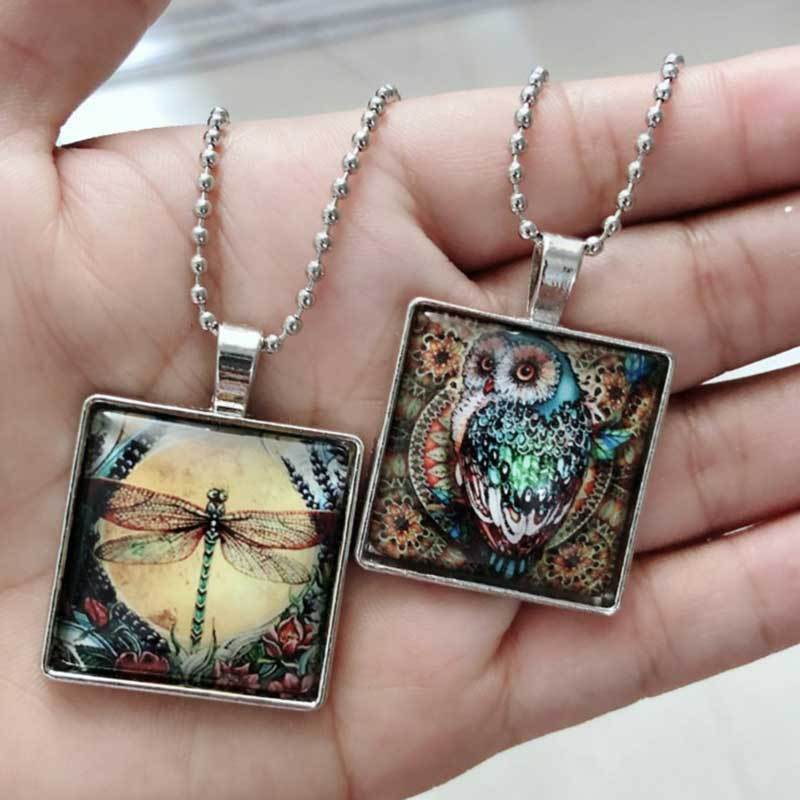 Dragonfly Insect Glass Pendant Necklace
