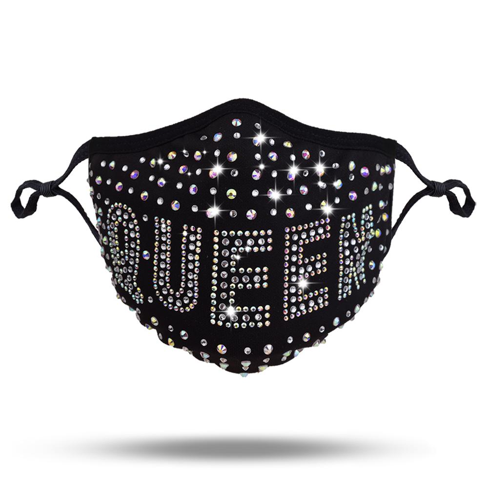 QUEEN Rhinestone Fashion Face Mask with Carbon Filter