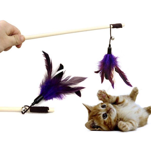 Pet Tease Cat Stick Pure Goose Feather Wooden Cat Toys Pet Funny Playing Supplies