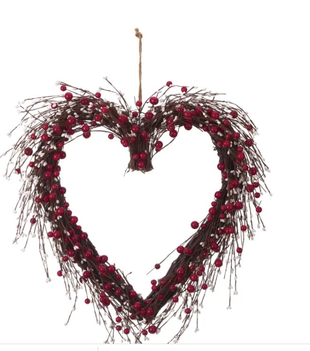 Faux Berry and Twig Heart