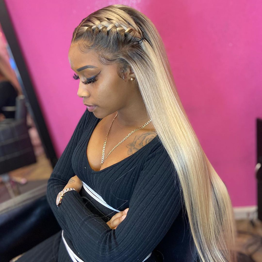 Blonde Wigs For Black Women Lace Front Platinum Ombre Hair Two Tone Lace Front Wigs Wet And Wavy Blonde Lace Front Wig Realistic Blonde Wig