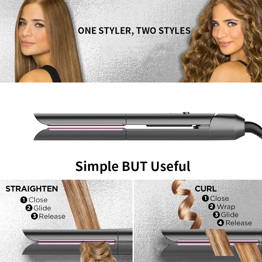 Flat Iron,Hair Straightener Curler 2 in 1,Ceramic Tourmaline Titanium Flat Iron for Hair Fast Heating-up Temp 265 to 450℉
