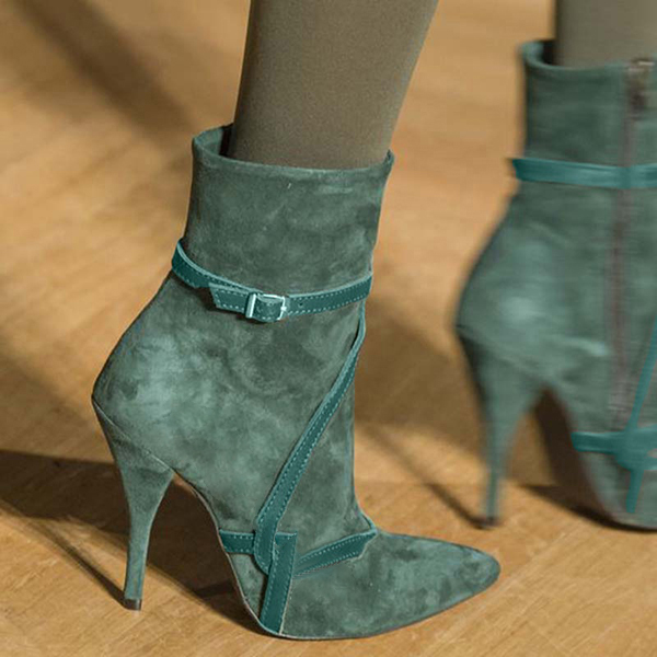 Faddishshoes Trendy Stiletto Heel Buckle Pointed Toe Boots