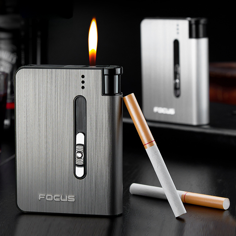 Buy 2 Get 1 Free! Automatic Cigarette Case 10pcs Cigarette Capacity Can Mount Lighter Metal Cigarette Box( Smoking Nice Gift)
