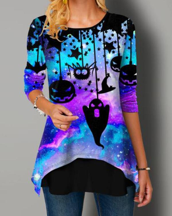 Halloween Print Faux Long Sleeve T Shirt