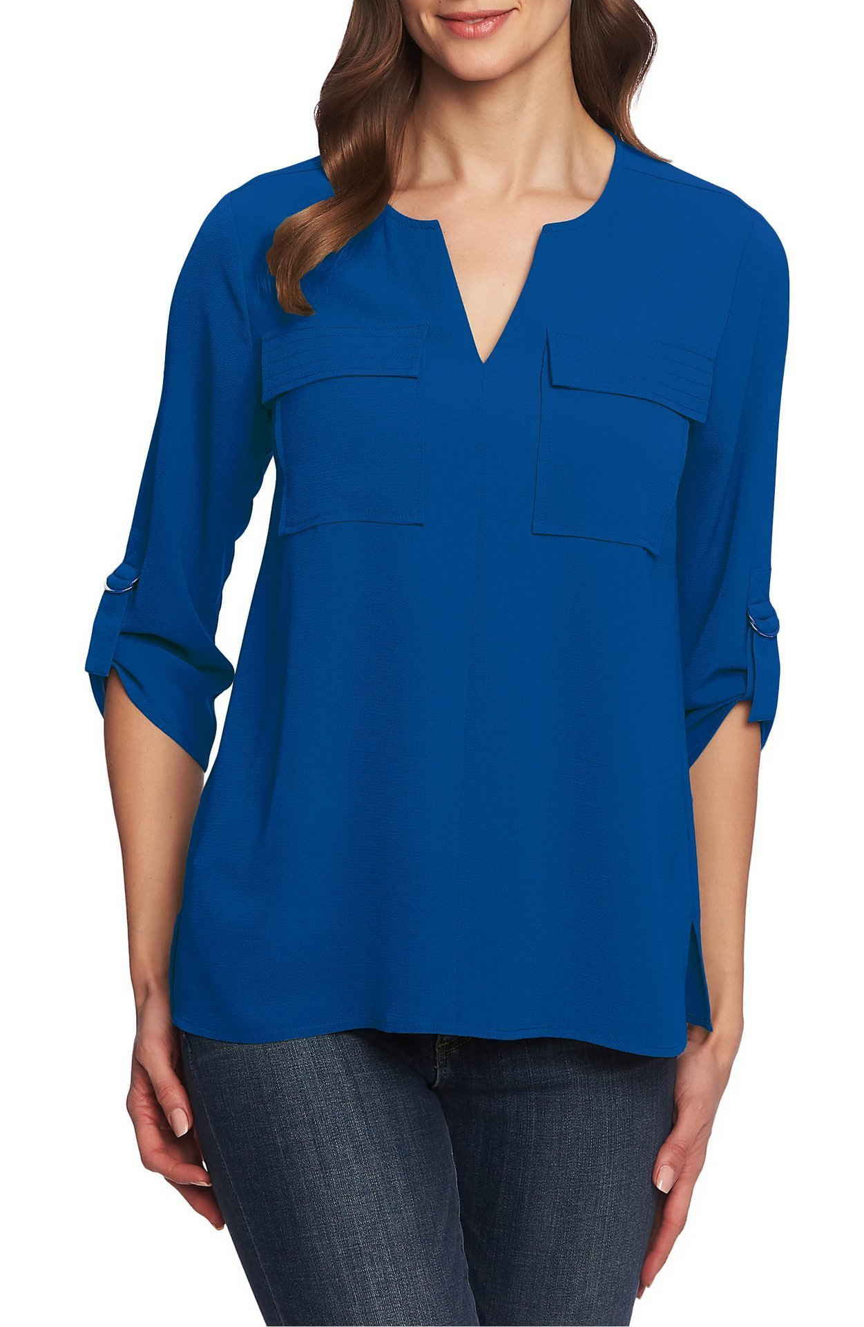 V-Neck Chest Double Pocket Cropped Sleeves Loose Chiffon Shirt