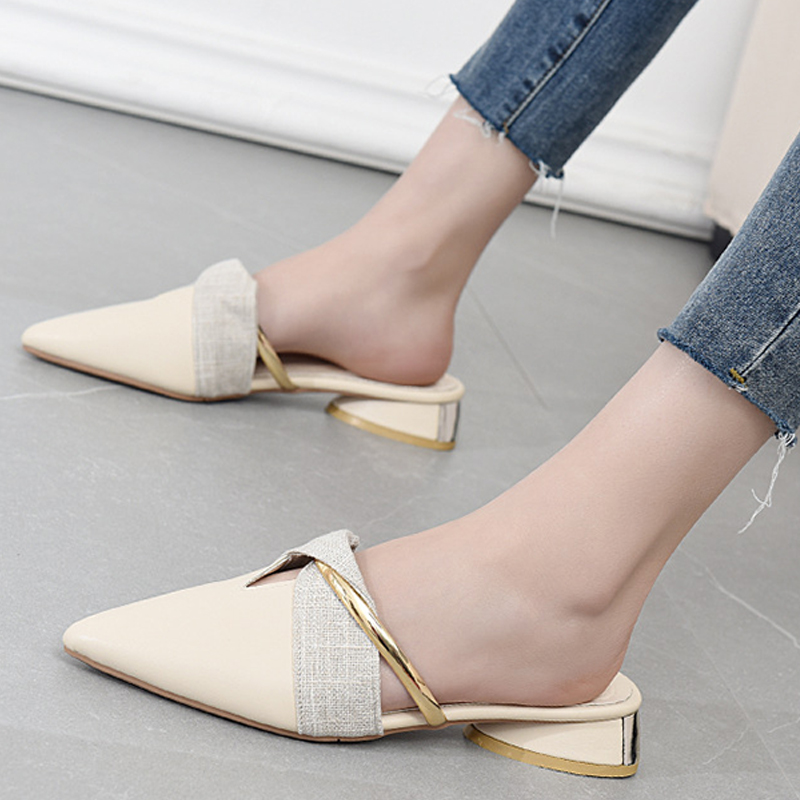 2021 pointed leather slippers