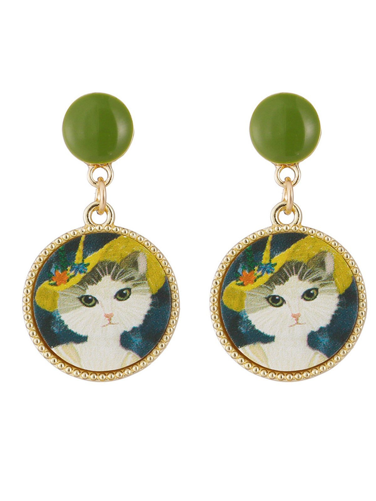Vintage Alloy Cute Cool Rock Cats Round Shape Fashion Earrings
