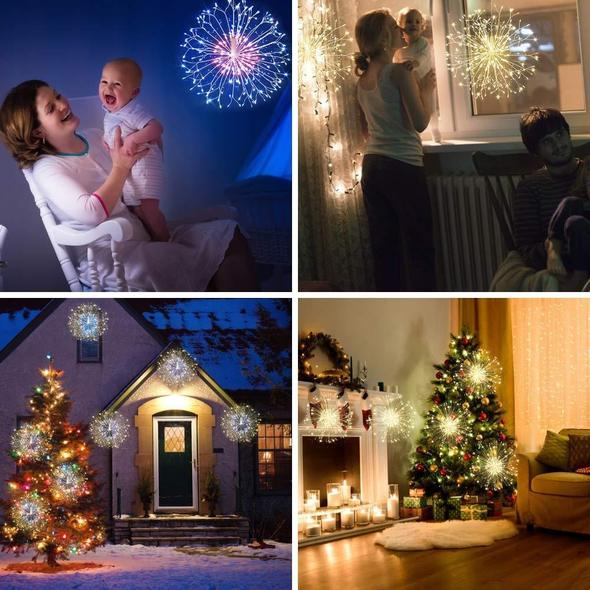 Christmas Sale - LED Starburst Lights with Remote, 8 Modes & Waterproof