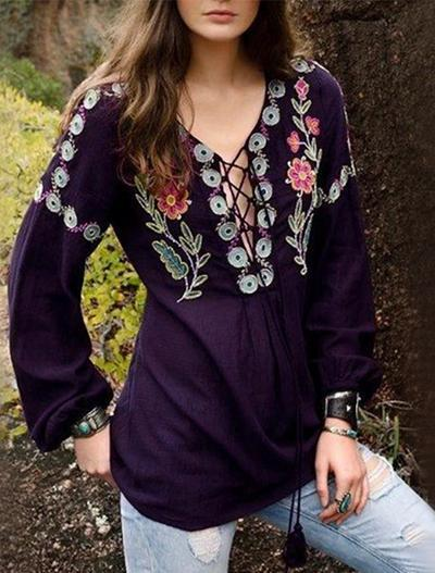 Loose Top BOHO Casual Long-sleeved Round Neck Blouse