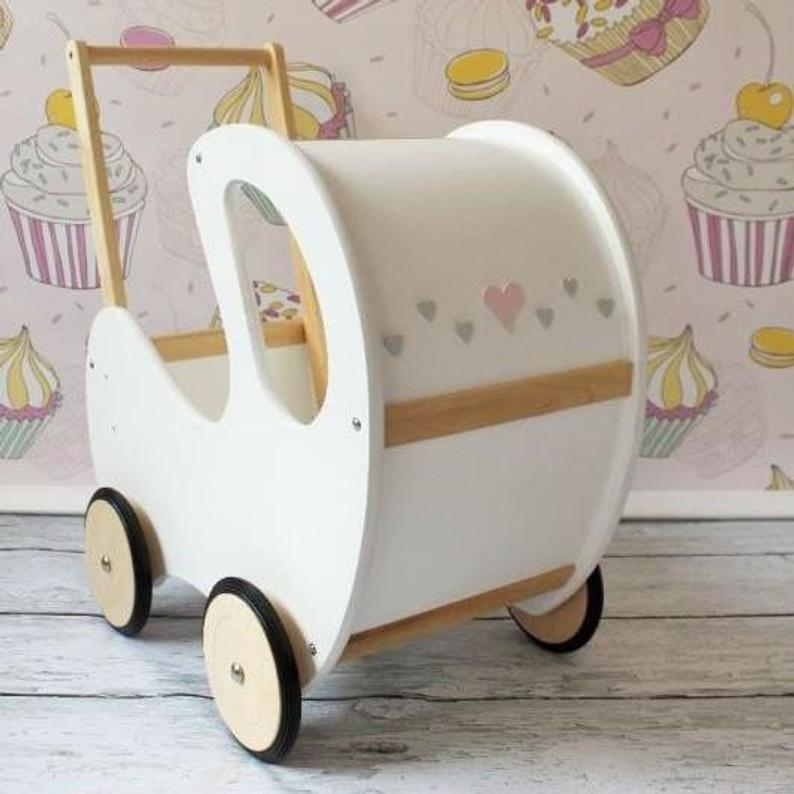 Personalised Handmade Wooden Toy Pram BabyUniqueCorn