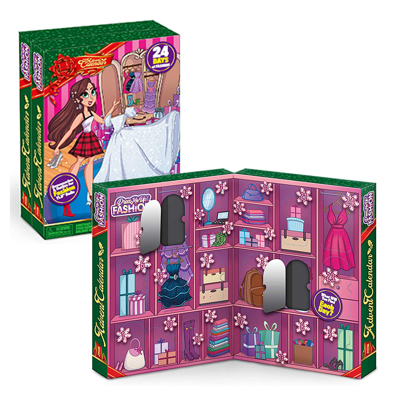 Christmas 24-Day Countdown Calendar, Toy Girl And Doll Dress Up Clothes And Accessories Set