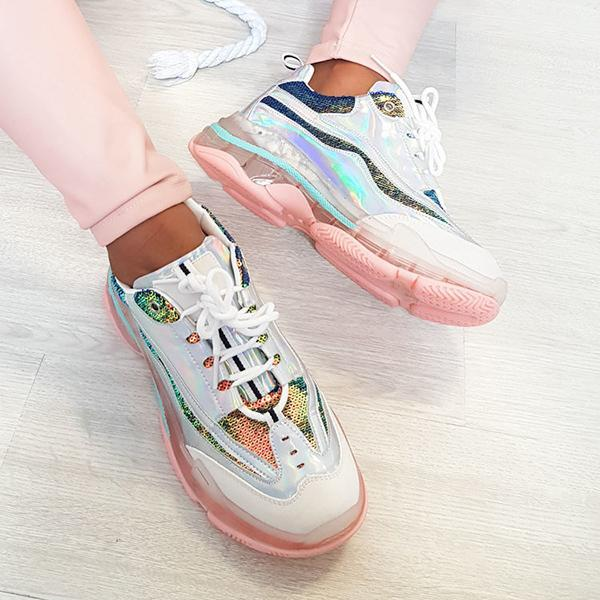Lemmikshoes Pink Metallic Sequin Chunky Sneakers