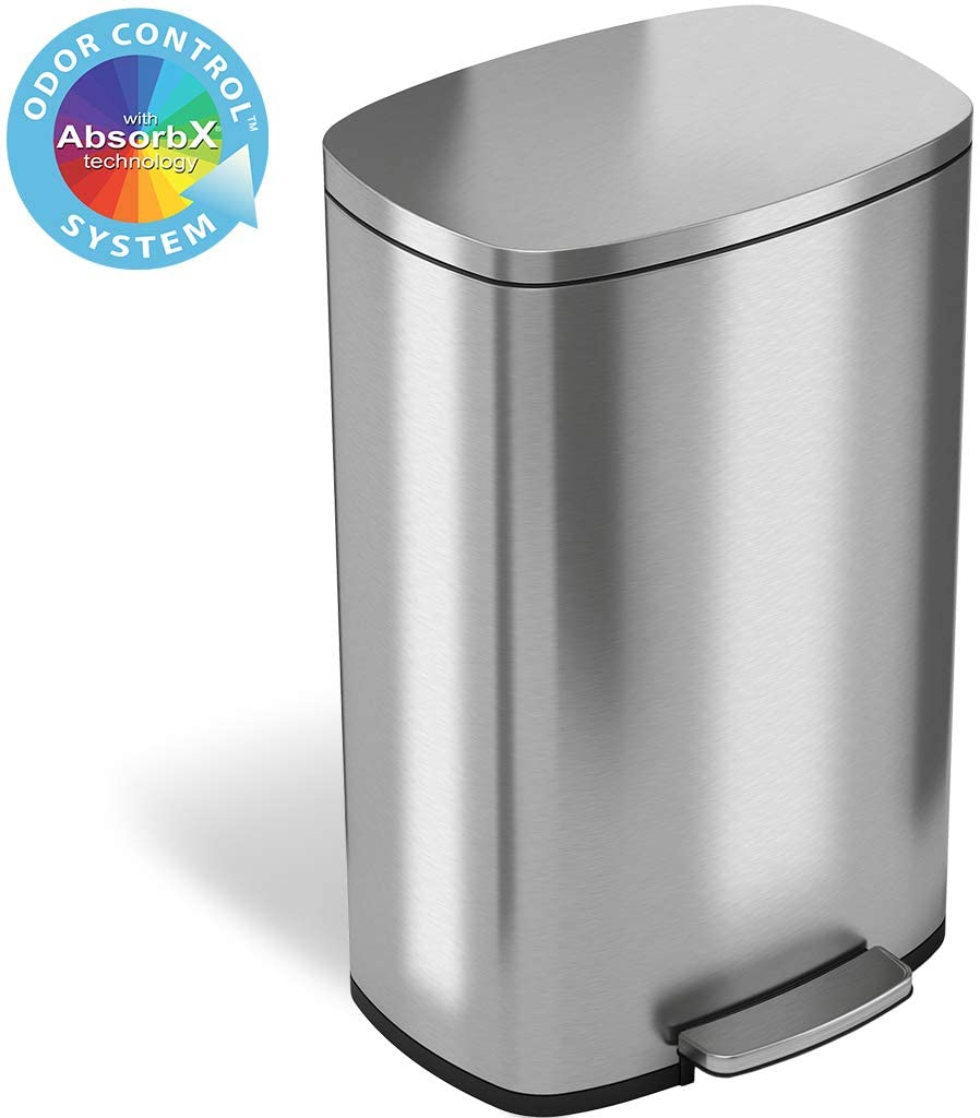 13.2 Gallon Ivory Steel Step Trash Can with Odor Control System, 50 Liter Pedal Garbage Bin for Kitchen, Office, Home-Silent and Gentle Open and Close