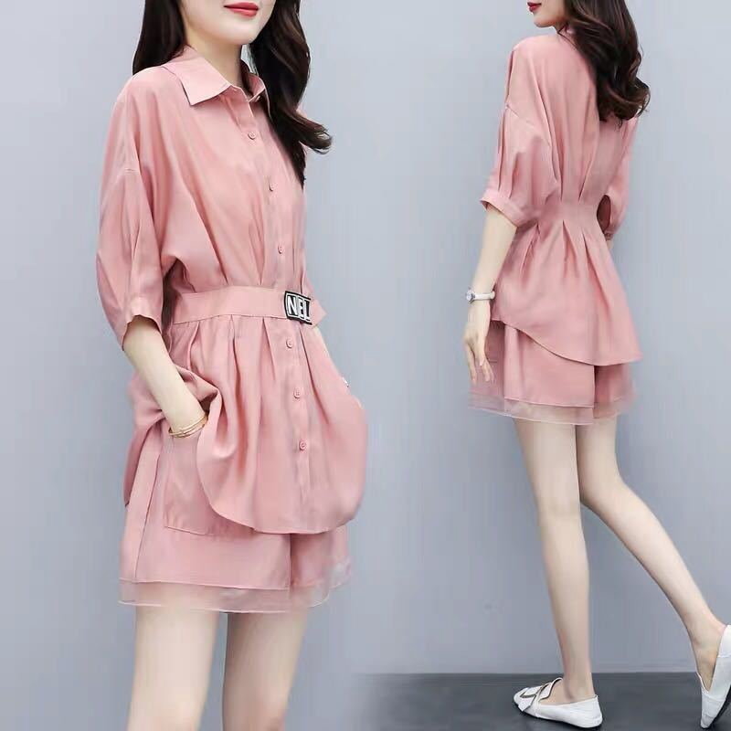 Two-piece summer women's shirt and pants