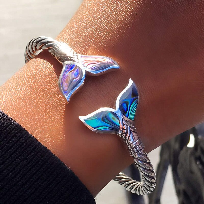 Abalone Shell and Silver Mermaid Tail SS Bangle Bracelet