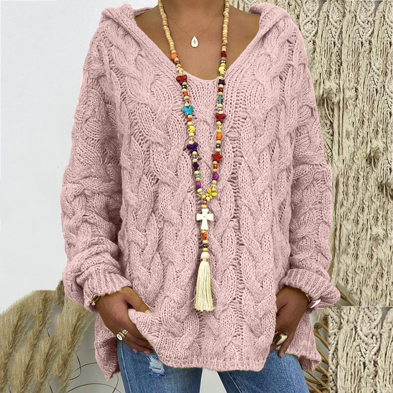 Women's Solid Colored Pullover Long Sleeve Loose Hooded Sweater