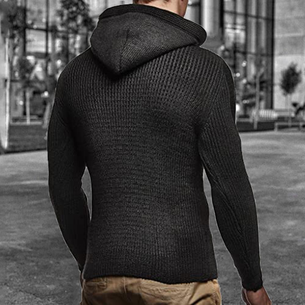 Vintage Horn Buttoned Men Knitted Hoodies