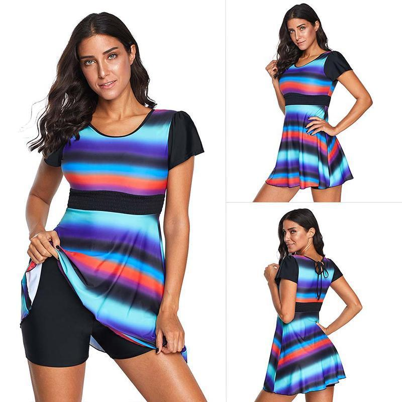 Color Block Holiday Beach Spa Two Pieces Swimsuits Desses