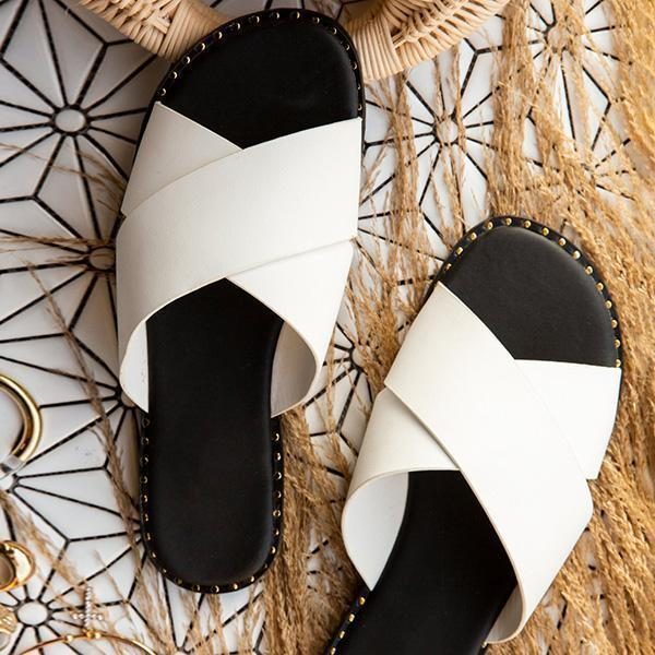 Faddishshoes Strap Crossover Detail Cushioned Insole Slippers