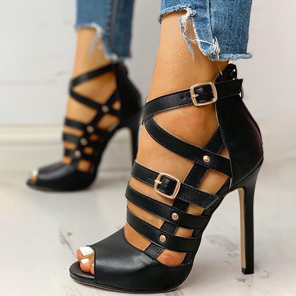 Faddishshoes Solid Hollow Out Ankle Strap Thin Heeled Sandals
