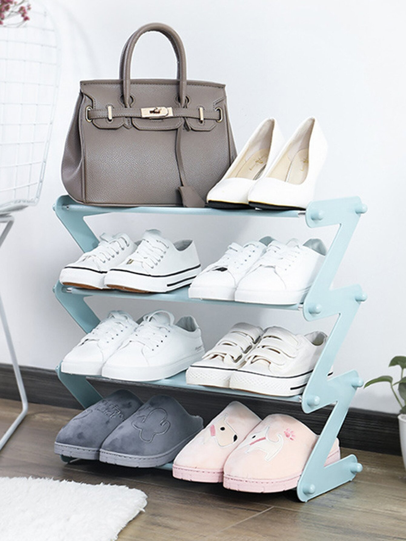 4 Layer Foldable Shoes Storage Rack 1pc
