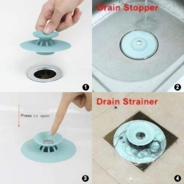 Bathtub and Kitchen Shower Drain Stopper Silicone Sink Plug Floor Drain Strainer Cover