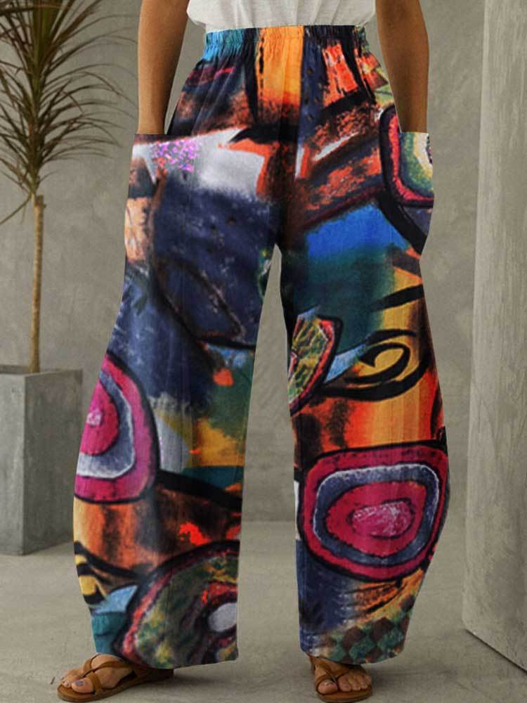 Women Cotton Linen Pocket Abstract Art Printing Pants