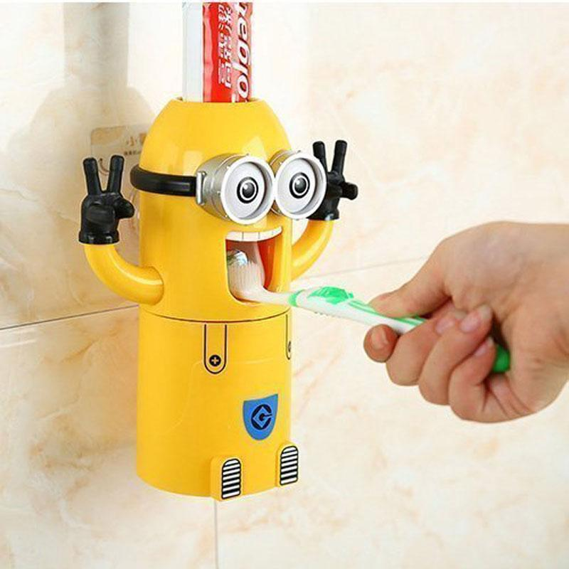 SKRTEN Minions 3-in-1 Automatic Squeezer Toothpaste Dispenser + 2 Toothbrush Hang Holder + 1 Cup For Kids Wall Mounted