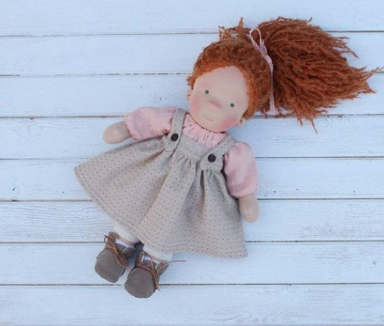 Liberty Dress For Waldorf Doll - Doll Clothing #25