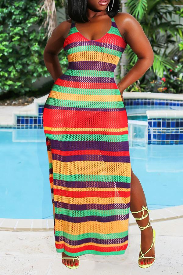 Color Striped Cutout Sleeveless Dress