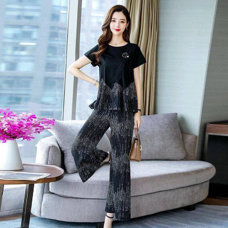 2020 summer new fashion was thin and covered belly short sleeve two-piece suit