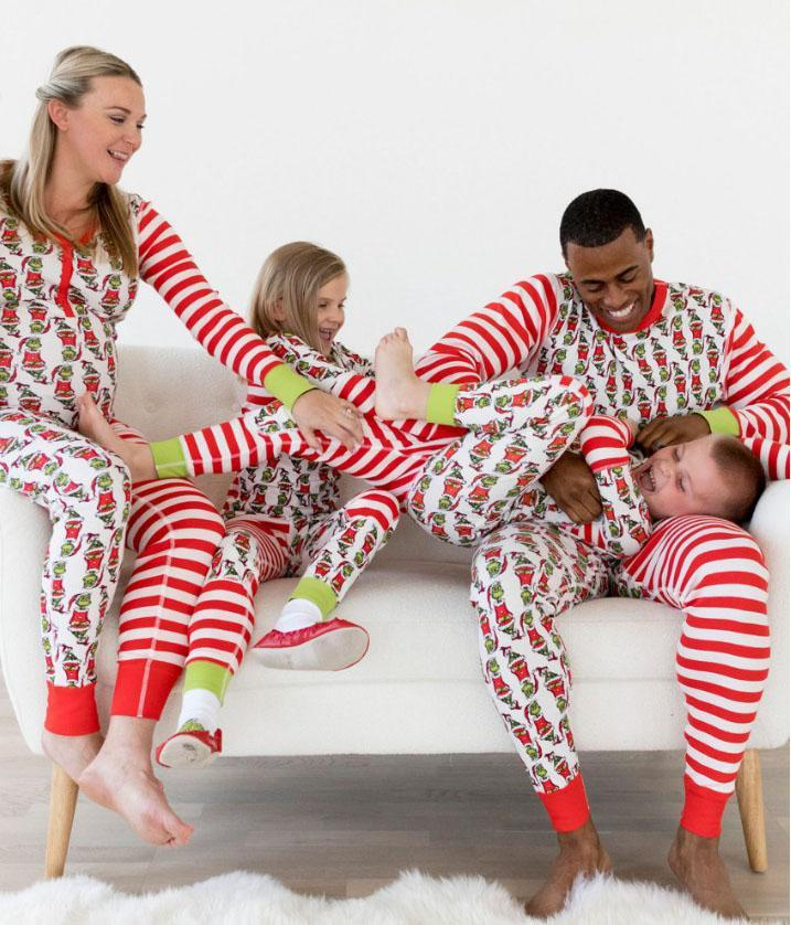 Santa Claus Striped Family Matching Christmas Pajamas