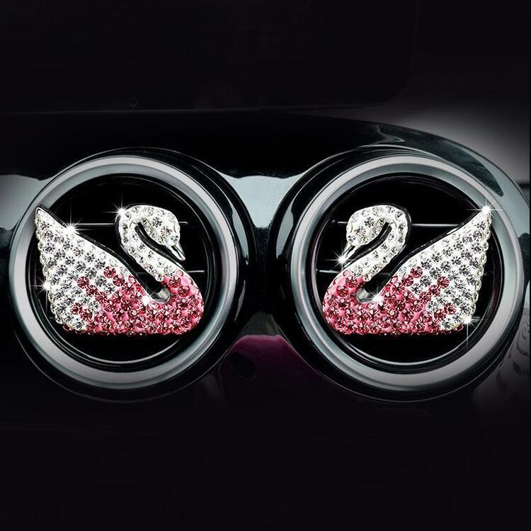 Last Day Promotion -Car air conditioning vents diamond swan perfume holder