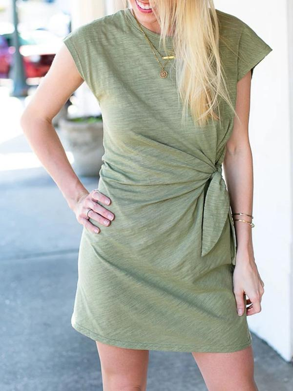 Twinklemoda Olive Knot Front Casual Dress