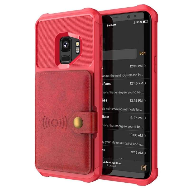 Luxury Leather Wallet Case Shockproof Magnetic Car Holder Case Cover for Samsung Galaxy S9/S9 Plus/Note 9/For iPhone X/Xs/XR/Xs Max/iPhone 8/8 Plus/iPhone 7/7 Plus/iPhone 6s/6 Plus/iPhone 6s/6