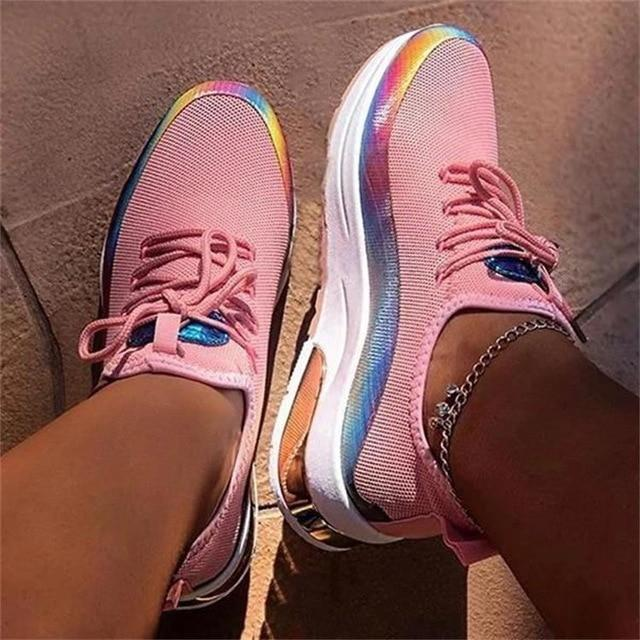 Women's fashion sneakers knitted reflective tennis trainers shoes colorful sneakers for comfy walking