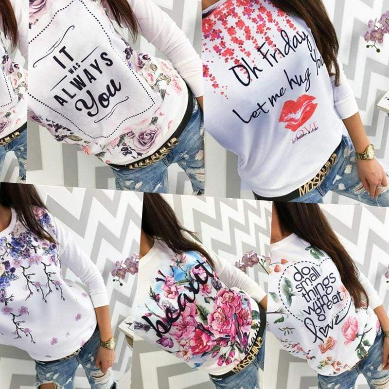 Women Letter Print Long Raglan Sleeve T-Shirt Blouses Tops