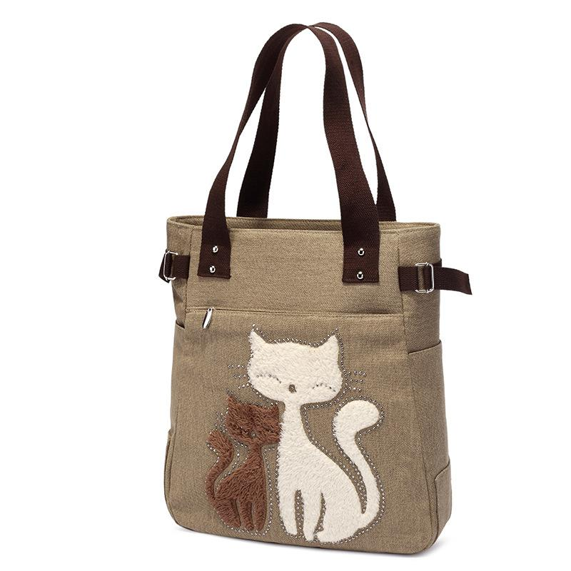 Cute Cat Canvas Bag For Women Casual Shopping Bags