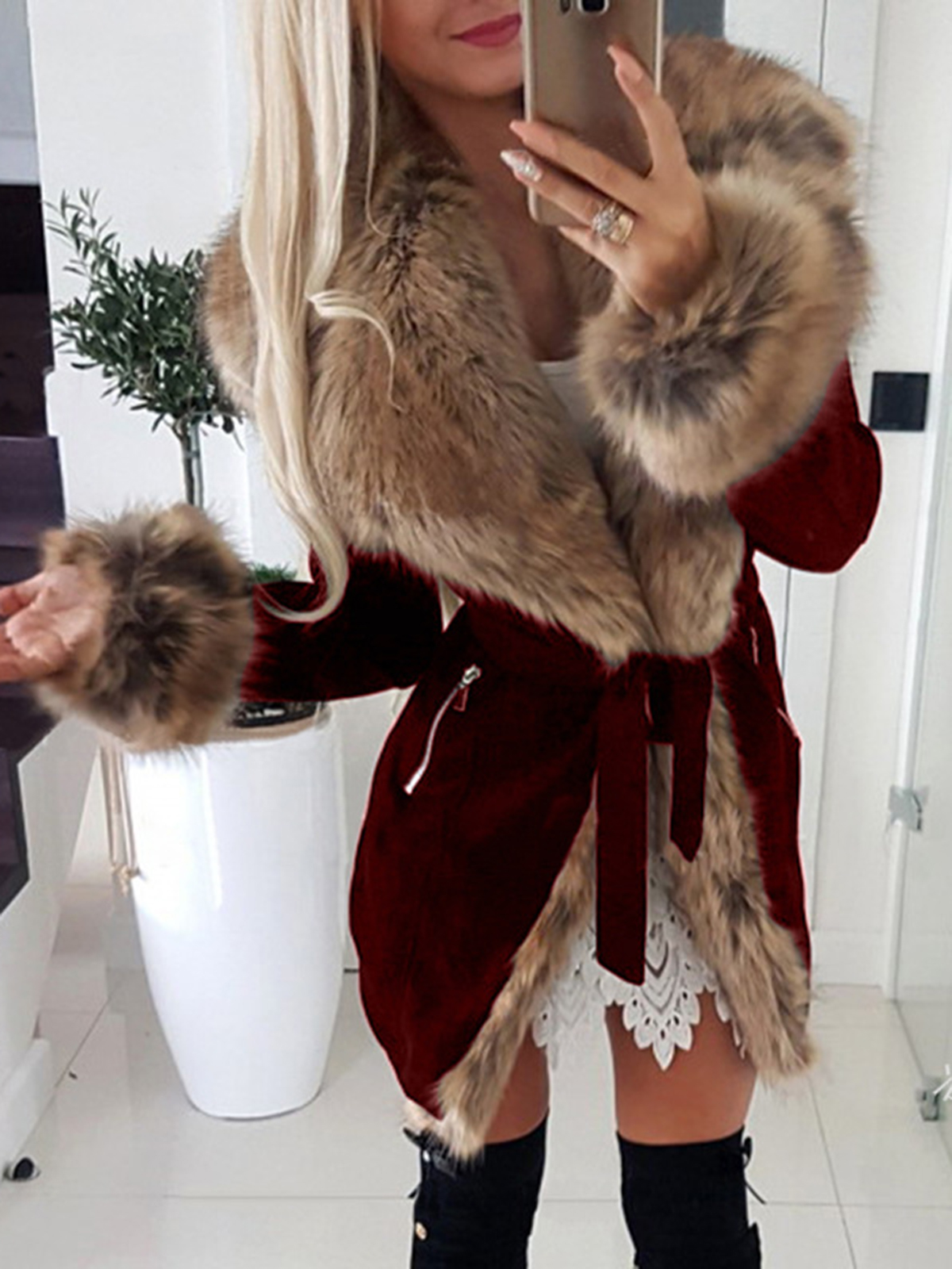 Casual fashion jacket with thick fur collar
