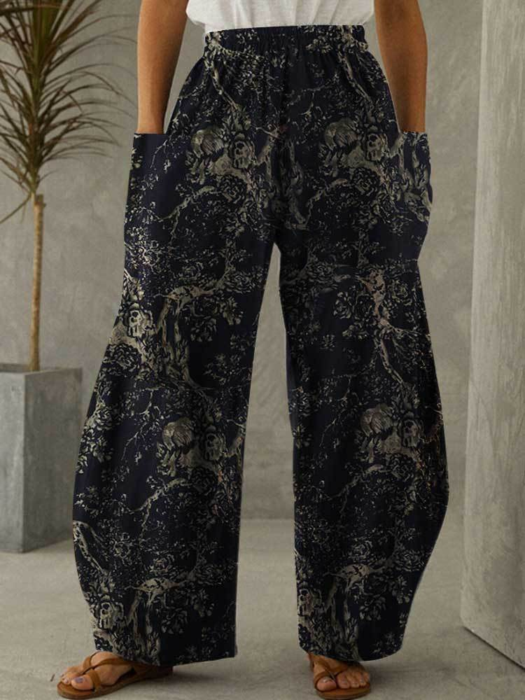 Women Cotton Linen Pocket Printing Vintage Pants