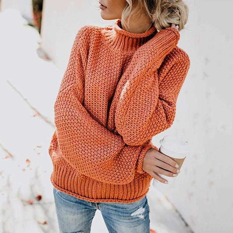 Women Thick Line High Neck Pullover Knitted Sweater Knitwear