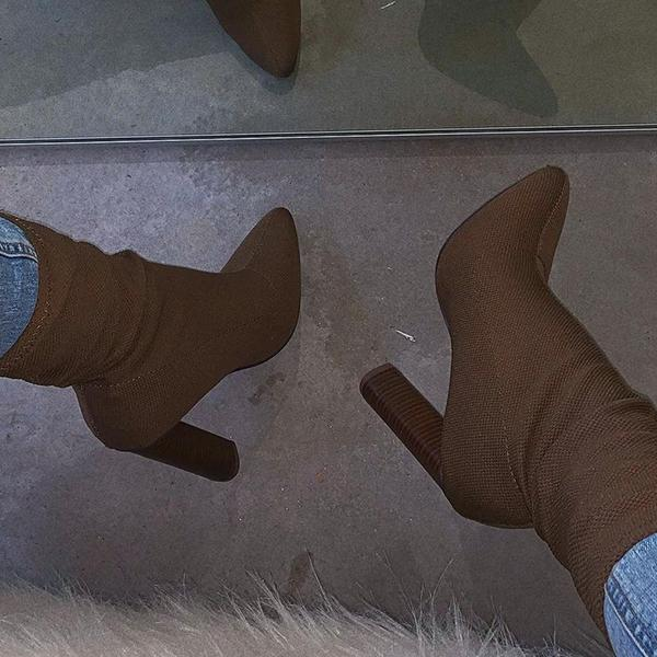 Lemmikshoes Suede Thread Pattern Thick Heel Boots